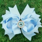 "12pcs 4.5"" Hair Bows with Acrylic Rhinestone Center NO CLIP-Lt Blue"