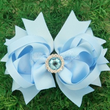 12pcs 4.5  Hair Bows with Acrylic Rhinestone Center NO CLIP-Lt Blue
