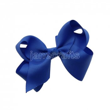 12pcs 3.5  Solid Grosgrain Chunky Boutique Hair Bows With Clips-Royal