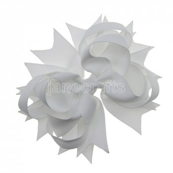 12pcs 4.5  Solid Spike Hair Bow Clips-White