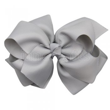 12pcs 4 inch layered boutique bow clip-shell grey
