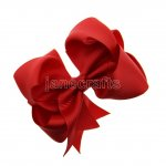 "12pcs 4"" Double Layer Grosgrain Boutique Chunky Hair Bows With Clips-Poppy Red"