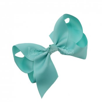 12pcs 5.5  Huge Solid Grosgrain Chunky Boutique Hair Bows With Clips-Aqua