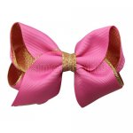 12pcs 3.5 inch gold layered boutique bow clip-hot pink