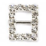 17mm 50pcs Rhinestone Buckle Invitation Ribbon Slider For Wedding Supply Silver Color