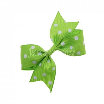 12pcs 3  Swiss Dot Spike Pigtail Hair Bows NO CLIP-Apple green with white