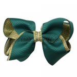 12pcs 3.5 inch gold layered boutique bow clip-hunter
