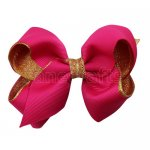 12pcs 3.5 inch gold layered boutique bow clip-shocking pink