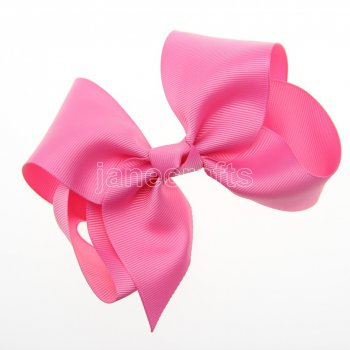 12pcs 5.5  Huge Solid Grosgrain Chunky Boutique Hair Bows Without Clip-Hot Pink