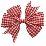 12 pcs school color red gingham 3 inch pinwheel bow w/ alligator clip