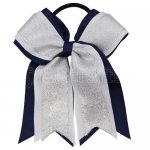 12pcs 5 inch silver / white 3 layered cheer bow ponytail holder-navy
