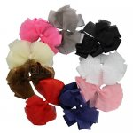 "9pcs 5.5"" HUGE Sheer Grosgrain Double Layered Pinwheel Bow Assorted 9 Color"