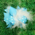 "12pcs 4"" Feather Hair Bows NO CLIP-Turquoise"