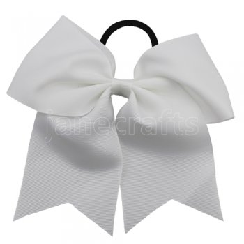 12 pcs white grosgrain 7 inch cheerleading bow w/ pony tail holder