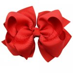 12pcs 4 inch layered boutique bow clip-poppy red