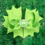 "12pcs 4"" Hair Bows with Pearl Rhinestone Center With Clips-Apple Green"