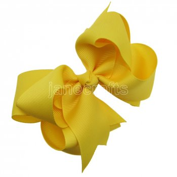 12pcs 4  Double Layer Grosgrain Boutique Chunky Hair Bows With Clips-Maize
