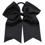 12 pcs black grosgrain 7 inch cheerleading bow w/ pony tail holder