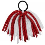 12 pcs school color white / red grosgrain 6 inch long korker bow w/ pony tail holder