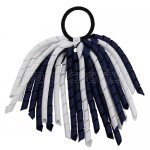 12 pcs school color white / navy grosgrain 6 inch long korker bow w/ pony tail holder