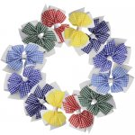 12 pcs school Gingham 4 inch layered pinwheel bow w/ alligator clip mix 6 colors