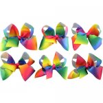 6 pcs 8inch giant boutique bow w/ clip mix 6 gradient rainbow color