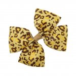"12pcs 3.5"" Medium Grosgrain Pinwheel Hair Bows without Clip-Leopard Yellow"
