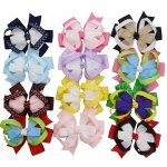 "4"" Loopy Stacked Chunky Baby Hair Bow Clips 12pcs Mixed in 12 Color"