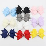 10pcs 4 inch Layered Hair Bows with Circle Rhinestone Center Mixed 10 Color
