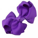12pcs 2.5 inch layered boutique bow clip-purple