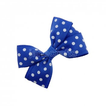 12pcs 2  Swiss Dot Pigtail Hair Bow Clips-Royal with white