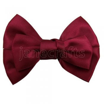 12pcs 4  Satin Hair Bow Clips for girls-Wine