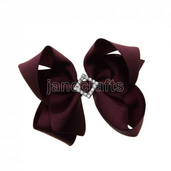 12pcs 4.5  Bling Chunky Boutique Hair Bows with Rhinestone Slider Center With Clips-Burgundy School Spirit