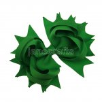 "12pcs 4.5"" Solid Spike Hair Bow Clips-Emerald"