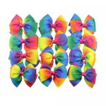 12 pcs 6 inch layered bowtie bow w/ clip mix 12 gradient rainbow color