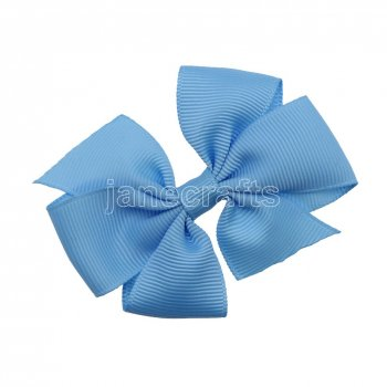 12pcs 3  Solid Daily Pinwheel Hair Bow Clips-Blue Mist