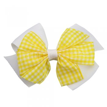12 pcs school color white / yellow gingham 4 inch layered pinwheel bow w/ alligator clip