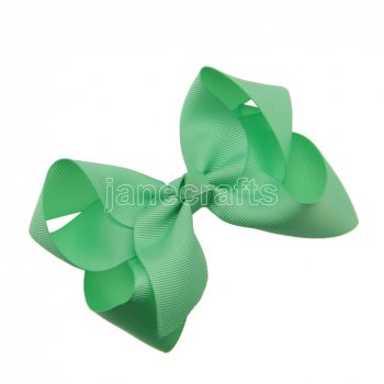 12pcs 4.5  Solid Grosgrain Chunky Boutique Hair Bows With Clips-Mint