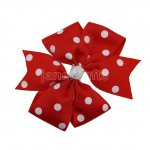 "12pcs 4"" Polka Dot Pinwheel Hair Bow Clips-Poppy Red with White"
