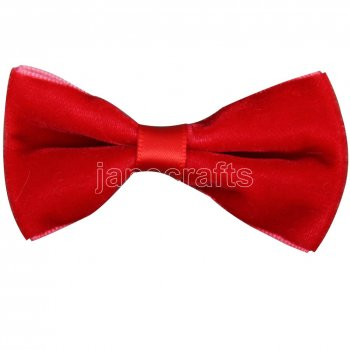 12pcs 2.5  Velvet Hair Bowtie Bows NO CLIP-Red