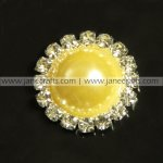 50pcs 21mm Round Metal Rhinestone Pearl Button Flatback LEMON