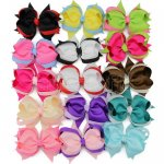"4"" Two Tone Baby Spike Hair Bow Clips 15pcs Mixed in 15 Color"