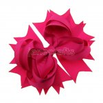 "12pcs 4.5"" Solid Spike Hair Bows NO CLIP-Shocking Pink"
