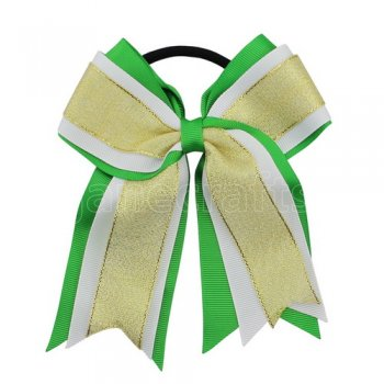 12pcs 5 inch gold / white 3 layered cheer bow ponytail holder-classical green