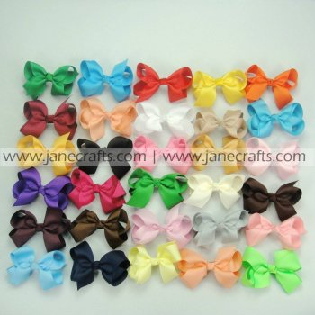 100pcs 3 inch Solid Chunky Grosgrain Bows Random Color