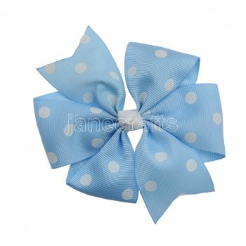 12pcs 4  Polka Dot Pinwheel Hair Bow Clips-Lt Blue with White