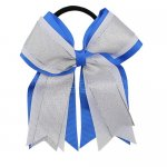 12pcs 5 inch silver / white 3 layered cheer bow ponytail holder-royal