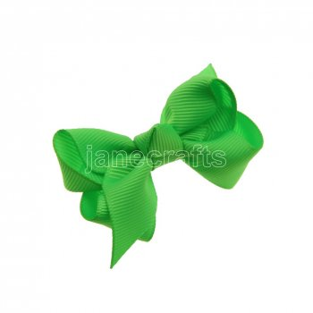 12pcs 2.5  Solid Grosgrain Chunky Boutique Hair Bows Without Clip-Acid Green
