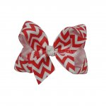 "12pcs 3"" Chevron Grosgrain Boutique Chunky Hair Bows NO CLIP-Peppy Red"