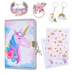 pickyNproud Purple Unicorn Notebook Sets with Keychain, Hair rope, Bracelets, Cute Pattern Stickers Children Dairy Books